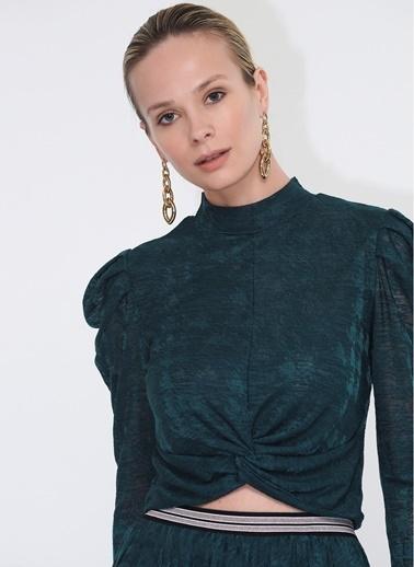 Tuba Ergin Dantel Crop Top Bluz Yeşil